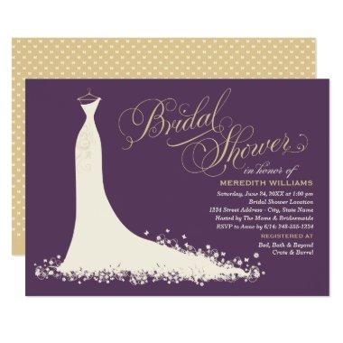 Elegant Gown | Purple and Gold Bridal Shower Invitations