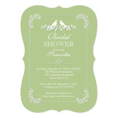 Elegant Green Love Birds Bridal Shower Invitations