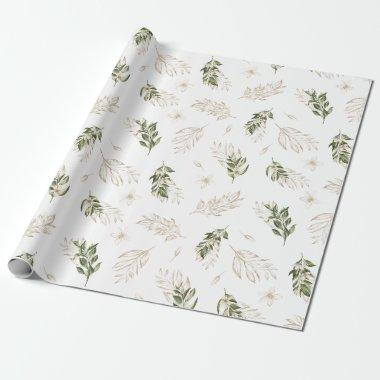 Elegant Greenery & Gold Wedding Wrapping Paper