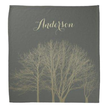 ELEGANT GREY GOLD FALL AUTUMN TREES MONOGRAM BANDANA