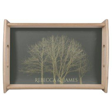 ELEGANT GREY GOLD FALL AUTUMN TREES MONOGRAM SERVING TRAY