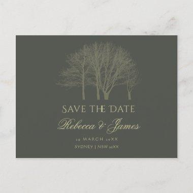ELEGANT GREY GOLD FALL AUTUMN TREES Save the date Announcement Post