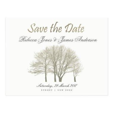 ELEGANT GREY GOLD FALL AUTUMN TREES SAVE THE DATE POST