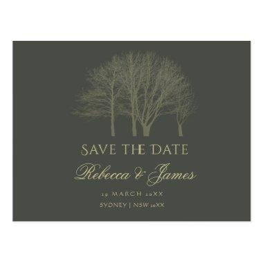 ELEGANT GREY GOLD FALL AUTUMN TREES Save the date PostInvitations