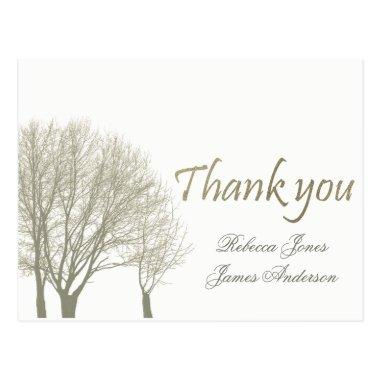 ELEGANT GREY GOLD FALL AUTUMN TREES THANK YOU POST