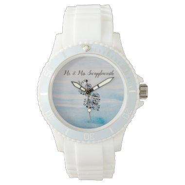 Elegant Hearts In Black And Blue Background Wrist Watch