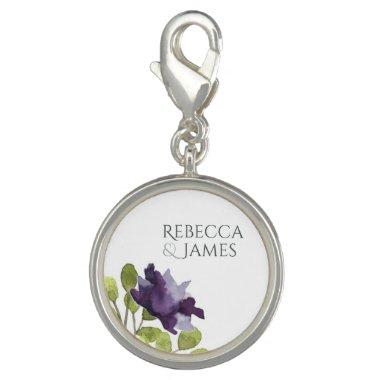 ELEGANT INK BLUE WATERCOLOUR FLORAL Personalised Charms
