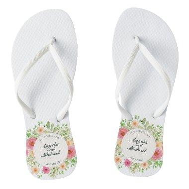 Elegant Just Married Wedding Flip Flops