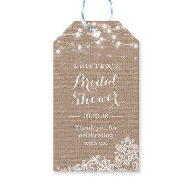 Elegant Lace String Lights Bridal Shower Thank You Gift Tags