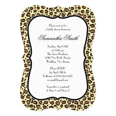 Elegant Leopard Animal Print Bridal Shower Invitations