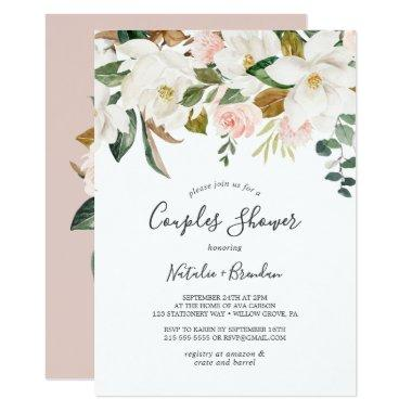 Elegant Magnolia | White and Blush Couples Shower Invitations