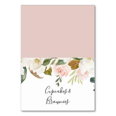 Elegant Magnolia | White & Blush Buffet Food Label Table Number