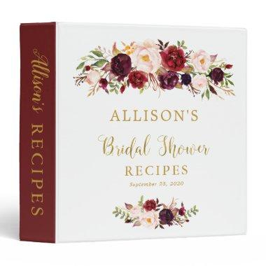 Elegant Marsala Floral Bridal Shower Recipe Binder