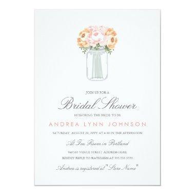 Elegant Mason Jar Bridal Shower Invitations
