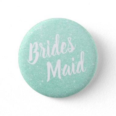 Elegant & modern mint green glitter bridesmaid button