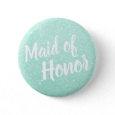 Elegant & modern mint green glitter maid of honor button