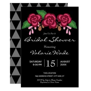 Elegant Modern Roses Bridal Shower Invitations