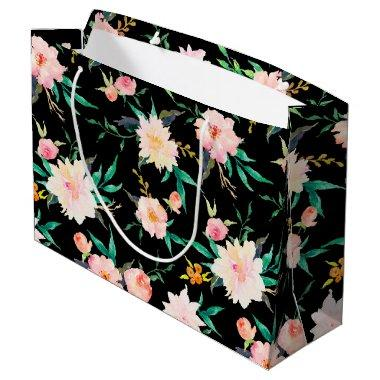 Elegant Modern Wedding Floral Roses Large Gift Bag