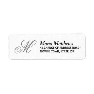 Elegant monogram return address label