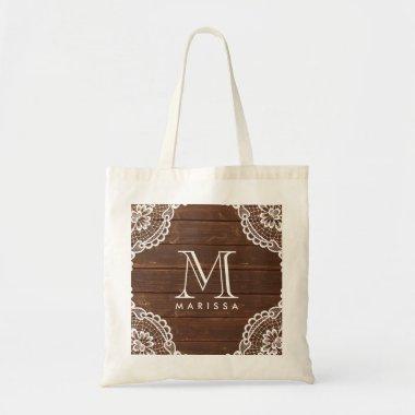 Elegant Monogram White Floral Lace Rustic Wood Tote Bag