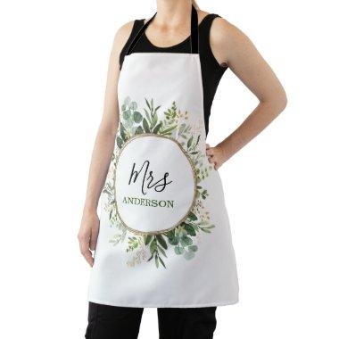 Elegant Mrs Greenery Gold Custom Wedding Monogram Apron