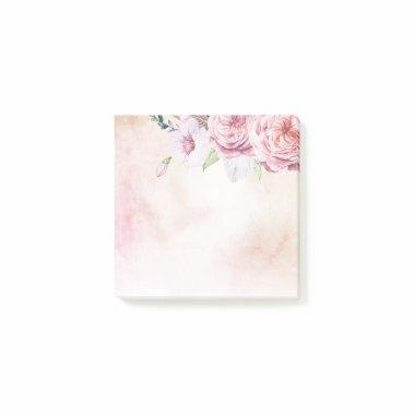 Elegant Natural Watercolor Boho Floral & Feathers Post-it Notes