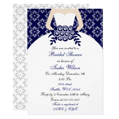 Elegant navy blue Bridal Shower Invitations