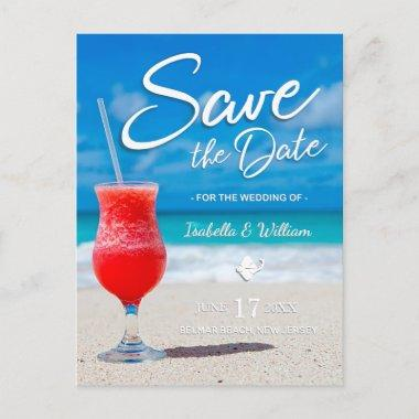 Elegant Ocean Beach Summer Drink Save the Date Announcement PostInvitations