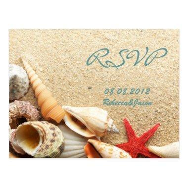 elegant ocean sand seashells beach wedding rsvp post