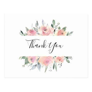 Elegant Pink Blush Floral Thank You PostInvitations