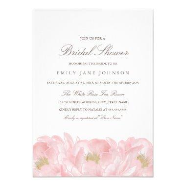Elegant Pink Peony Bridal Shower Invitations