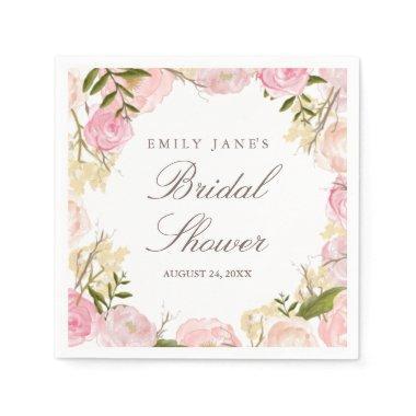 Elegant Pink Rose Bridal Shower Napkins