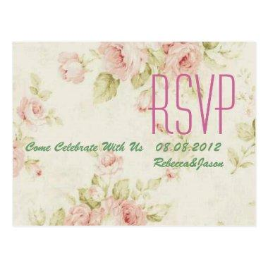 elegant Pink rose Floral vintage wedding RSVP Post