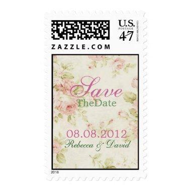 elegant Pink rose Floral wedding save the date Postage