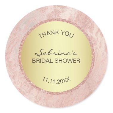 Elegant Pink Rose Gold Foil Glitter  Classic Round Sticker