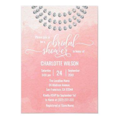 Elegant Pink Watercolor Faux Diamond