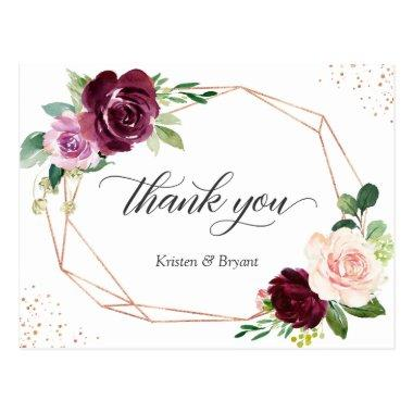 Elegant Plum Purple Blush Floral Thank You PostInvitations