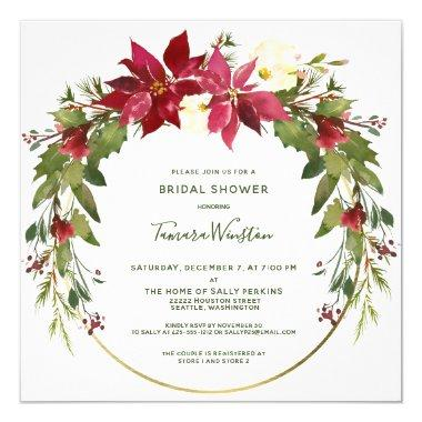 Elegant Poinsettia Floral Christmas Bridal Shower Invitations