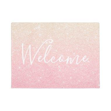 Elegant pretty girly gradient rose gold glitter doormat