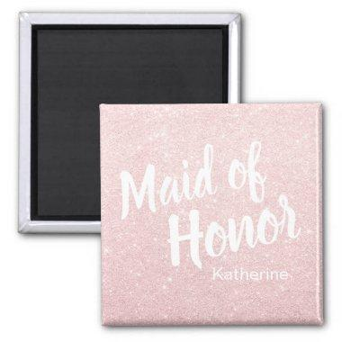 Elegant pretty rose gold glitter maid of honor magnet