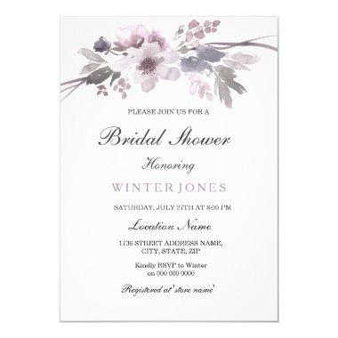 Elegant Purple Winter Floral  Invite
