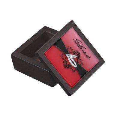 Elegant Red and Black Premium Wedding Ring Box