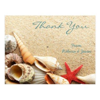 elegant romantic seashells beach wedding thank you post