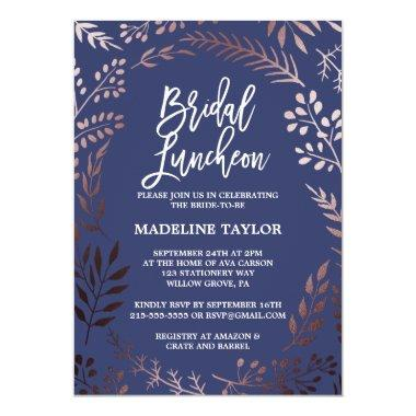 Elegant Rose Gold and Navy Bridal Luncheon