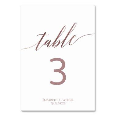 Elegant Rose Gold Calligraphy Table Number
