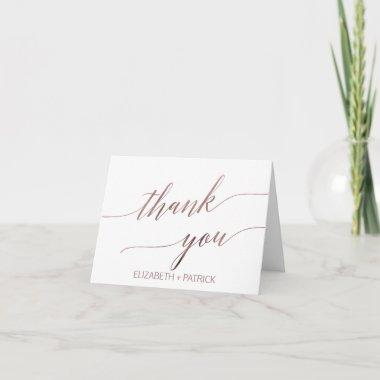 Elegant Rose Gold Calligraphy Thank You Invitations