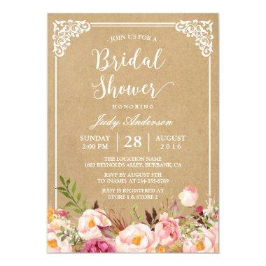Elegant Rustic Floral Frame Kraft | Bridal Shower Invitations