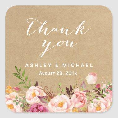 Elegant Rustic Floral Kraft Thank You Square Sticker