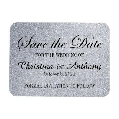 Elegant Save the Date Silver Glitter Print Magnet