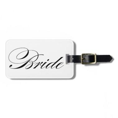 Elegant script font Bride luggage tag honeymoon